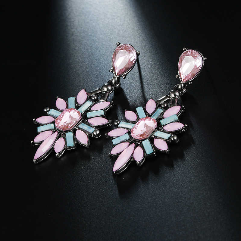 Colorful Crystal Vintage Drop Earrings Water Drop Flower Design Pink Earrings Bohemian Jewelry  Wedding Jewelry Wholesale E0369