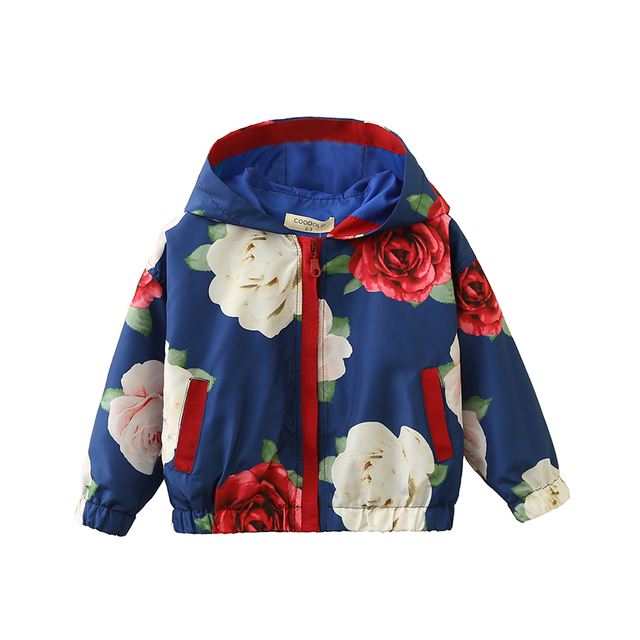 3b3cb48e58659 Baby Girl Hooded Floral Jacket Kids Toddler Fashion Fall Outerwear Coat  Wholesale Lots Bulk Clothes Children Spring Jacket 2018