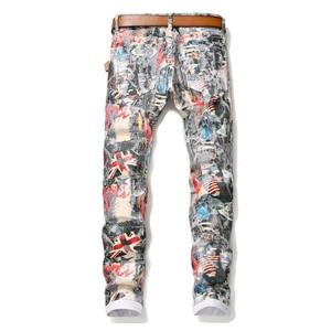 Image 2 - Sokotoo ผู้ชายภาษาอังกฤษธงความงามสาว 3D พิมพ์กางเกงยีนส์ Slim fit สีทาสียืดกางเกง