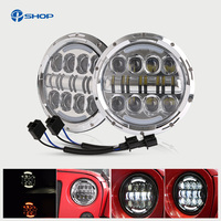 7 Inch Projector Daymaker Round 80W Hi Low Beam Motorcycle LED Headlight Bulb DRL For Harley