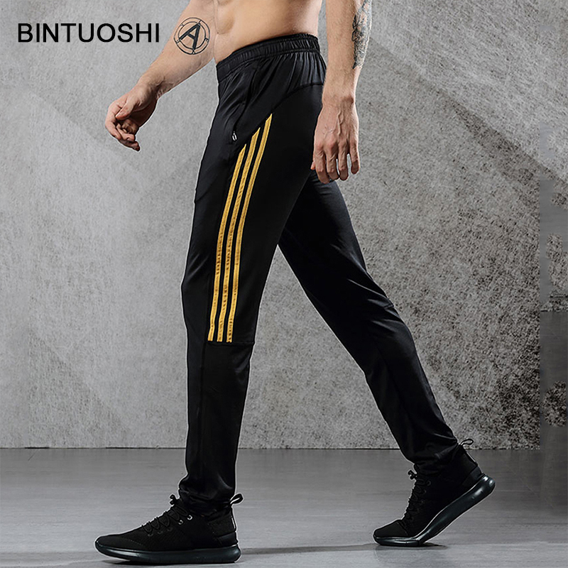 BINTUOSHI Breathable Sport Pants Mens Running Pants With Zipper Pocket Training Trousers Joggings Pant Fitness Trousers For Men slimming narrow feet zipper fly special cross print purfle pocket men s casual long pants