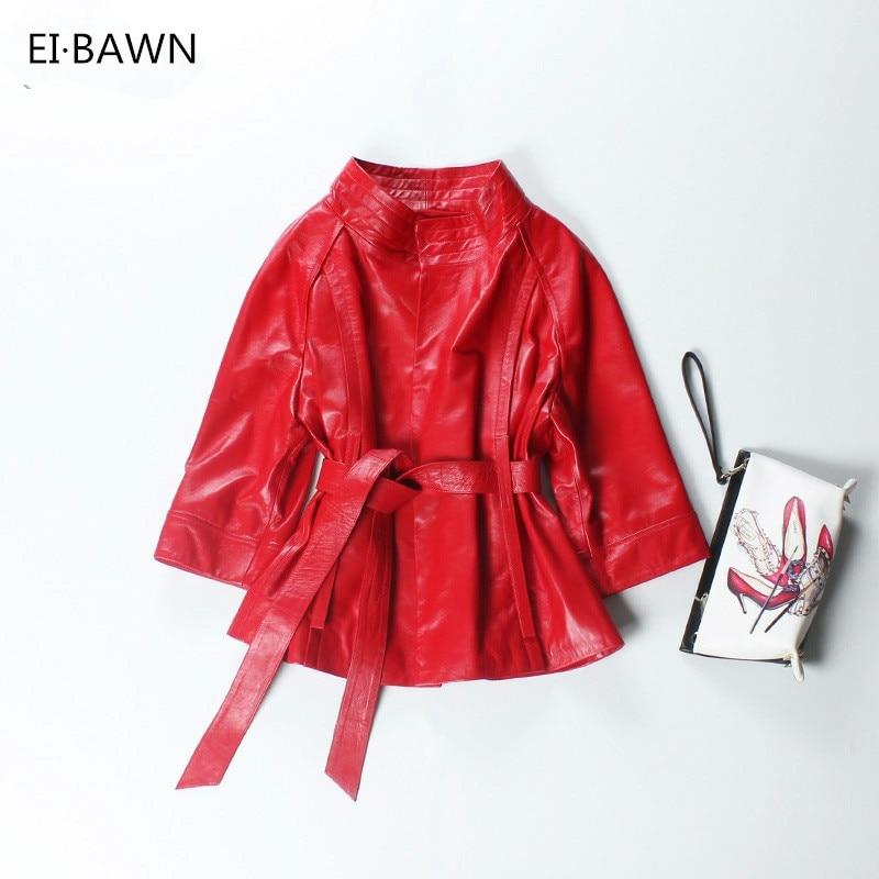 Red Genuine Leather Jacket Women Plus Size Real Sheepskin Black Pink Purple Leather Coat Women Outerwear jaqueta de couro