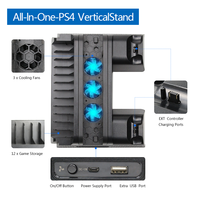 For PS4 PS4 Slim PS4 Pro Vertical Stand with Cooling Fan Dual Controller Charger Charging Station For SONY Playstation 4 Cooler in Stands from Consumer Electronics