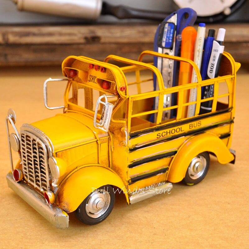 Vintage jaune fer école bus modèle classique rétro artisanat en métal voiture porte-stylo
