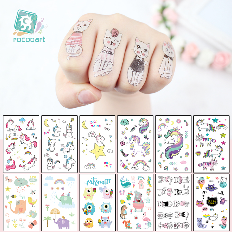 EC47-670 New 2018 Cartoon Cute Kids Children Animal Unicorn Horse Temporary Tattoo Sticker Body Art Fake Flash Taty Tatoo