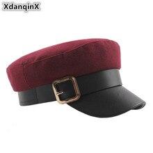 XdanqinX Autumn Winter Womens Flat Cap Belt Metal Buckle Decoration Military Hats Elegant Novelty Caps Warm Female Hat