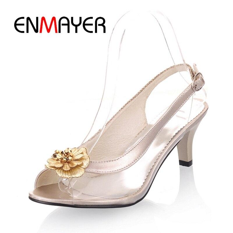 ENMAYER 2018 New Arrival lady Glass glue flower high heel sandals women elegant causal shoes ZYL316