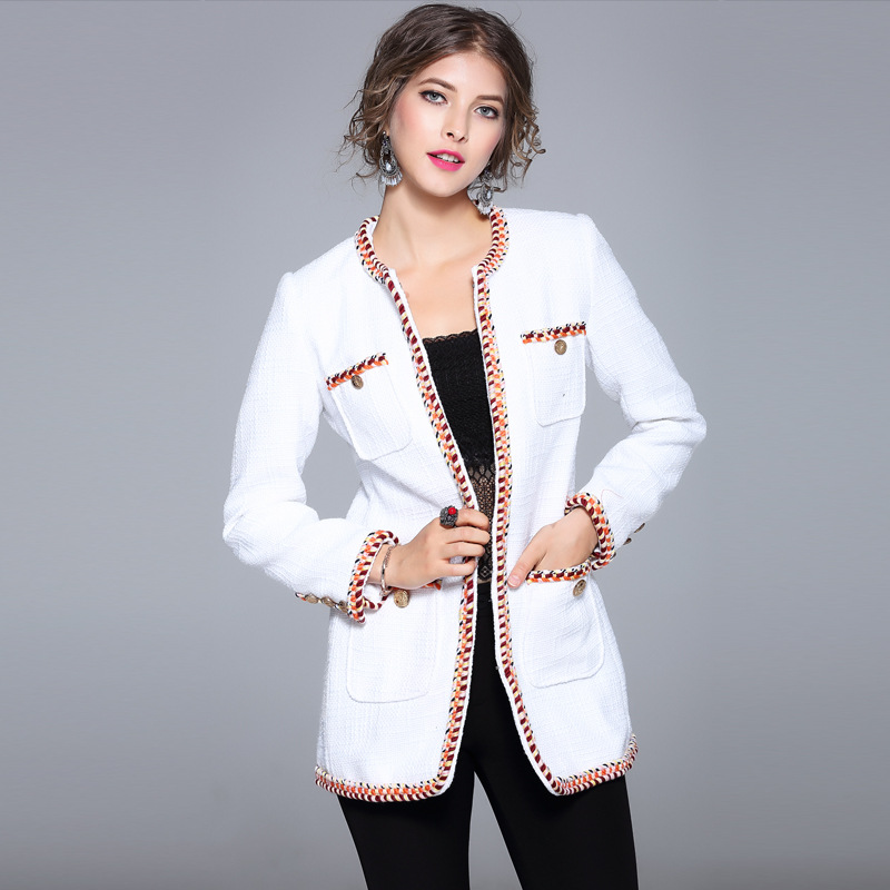 2017 new brand runway women autumn coats top quality fashion slim full o-neck office lady coats brief open stitch white coats