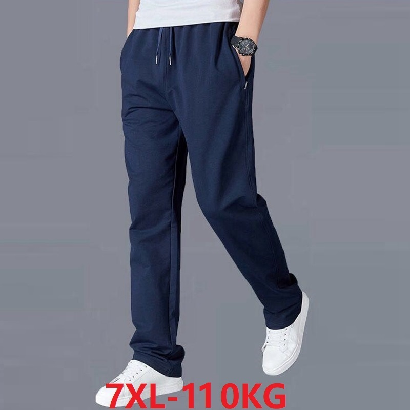 Big Size 7XL Pants Men Cheap Man Summer Dark Blue Sports Simple Sweatpants Elasticity Elastic Waist Mens Casual Thin Pants 44 46