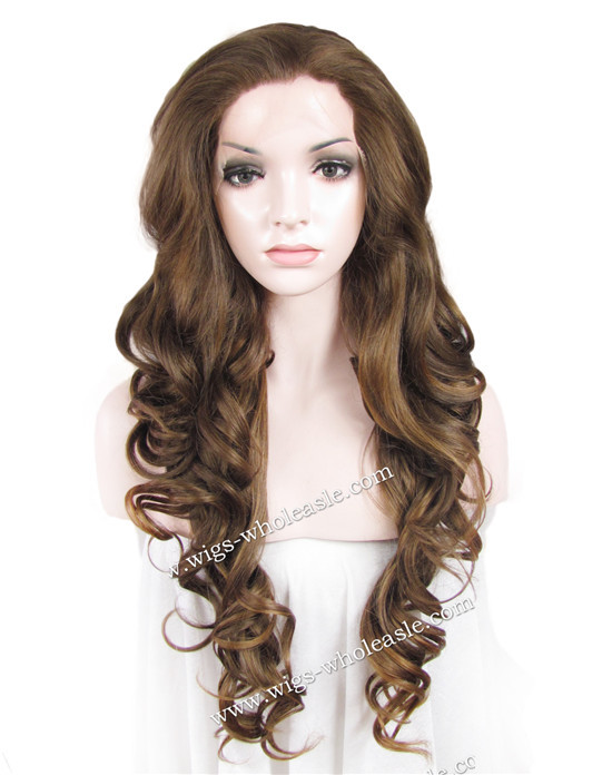 ФОТО Extra Wavy Wig For White Women Brown Fashion Source Lace Front Hair Wig Synthetic