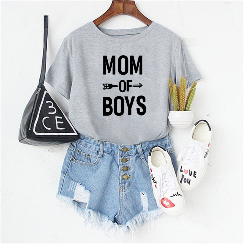Lei SAGLY MOM OF BOYS T Shirt Women Plus Size 3Colors Summer Short Sleeve Tshirt Casual O-neck Fashion Letter Print Mothers Tees