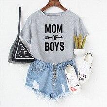 Lei SAGLY MOM OF BOYS T Shirt Women Plus Size 3Colors Summer Short Sleeve Tshirt