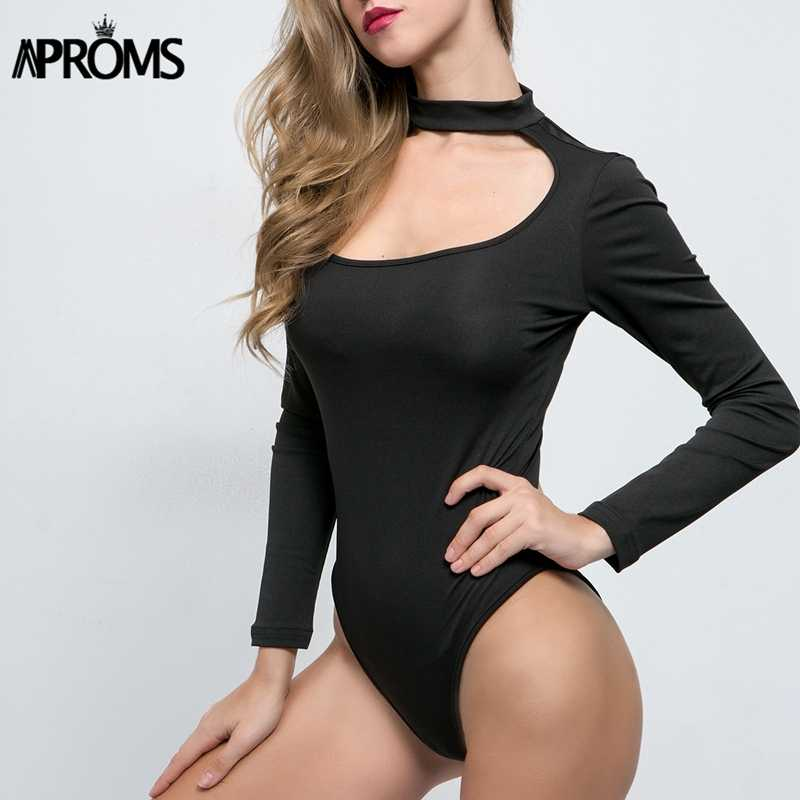 ... Aproms Sexy Skinny Bodysuit Solid Long Sleeve Bodysuit Black Mid Waist  Irregular Neck Autumn Casual Bodysuits ... daaf9f5cd