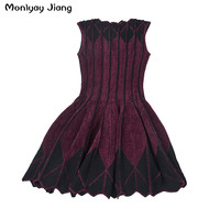 2016 Winter Women New Pleated Knitting Dress Magic Violet Dress