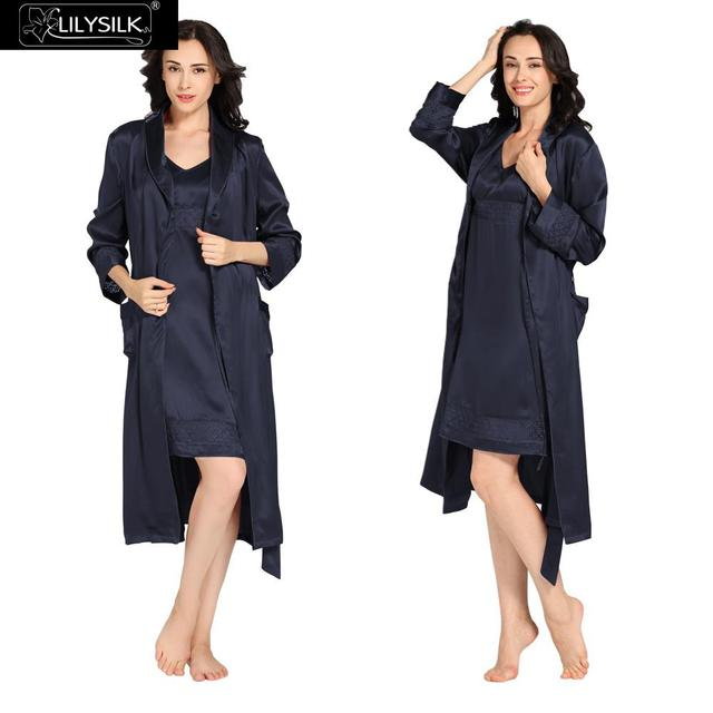 Lilysilk Sexy Lingerie Nightdress Robe Long Set 22 Momme Women Navy Blue Bridesmaid Luxury Nightwear Lounge For Sleeping Party