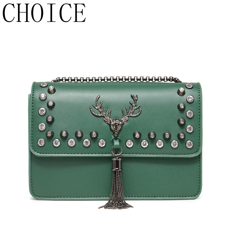 CHOICE Luxury Brand Shoulder Bags Women PU Material Messenger Bag Metal Chain Tassel Deer Pendant Fashion Designer Female Bag 2017 fashion all match retro split leather women bag top grade small shoulder bags multilayer mini chain women messenger bags