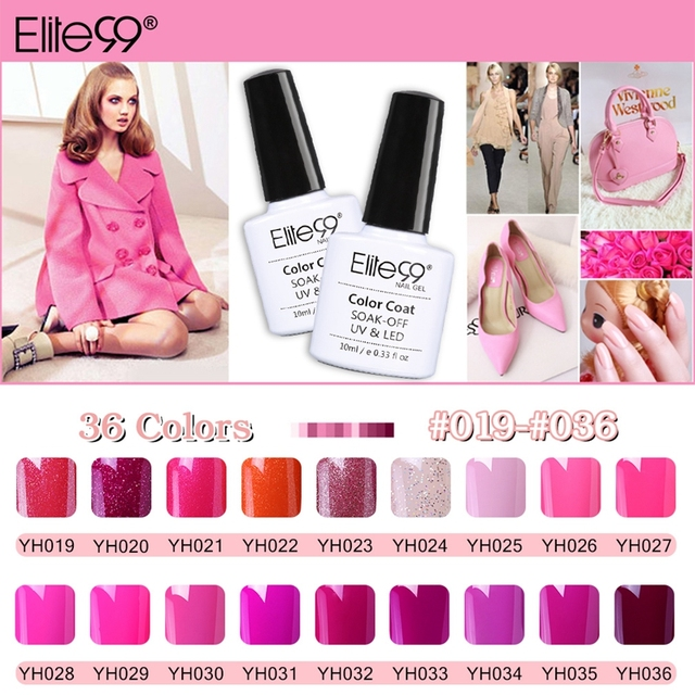 Elite99 10 ml magenta color Series UV Esmaltes de uñas semi ...