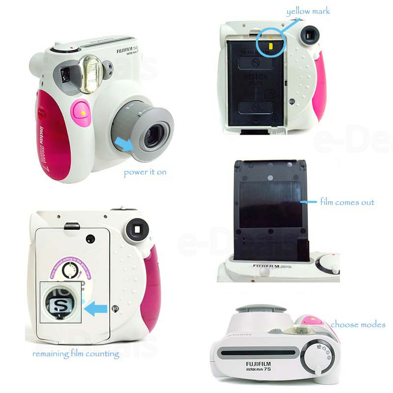 100% Authentic Fujifilm Instax Mini 7s Instant Photo Camera, Work with Fuji Instax Mini Film, Good Choice as Present/Gift 1