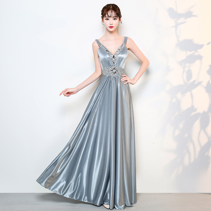 Elegant Grey V-neck Crystal Beading Lace Up Robe De Soiree Backless Sequins Formal Long   Evening     Dresses   Prom Party Gowns