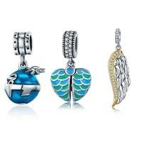 925 Sterling Silver Blue Planet Emalia & Gold Feather Skrzydło Charm Bransoletka Naszyjnik Moda Biżuteria