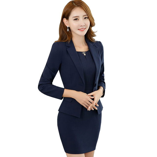 2621a293bc7 Elegant Formal Short Sleeve Blazer Dress Set Women 2017 Fashion .