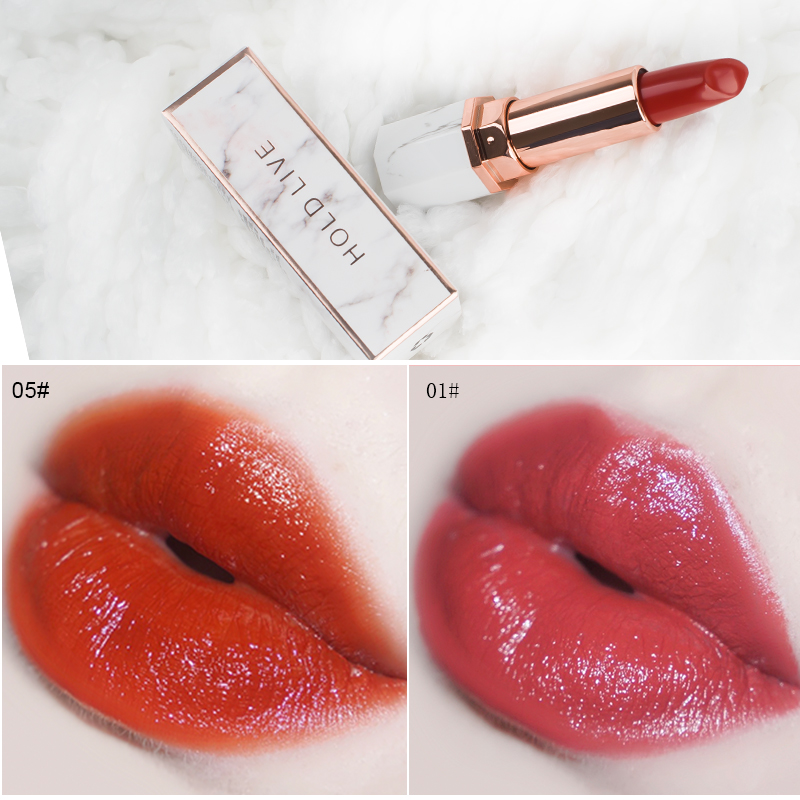 HOLD LIVE White Jade Marble Lipstick For Res Lips Makeup Brand 2018 Hot Sale Waterproof Long Lasting Velvet Matte Lip Sticks Set hold live 6 color vevet matte lip stick for nude red lips lipstick korean brand kit pink diamonds lipstick 24 hours long lasting