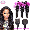 Malaysian Virgin Hair With Closure 4pcs Malaysian Loose Wave With Closure Human Hair  Rosa Hair Products Malaysian Loose Wave