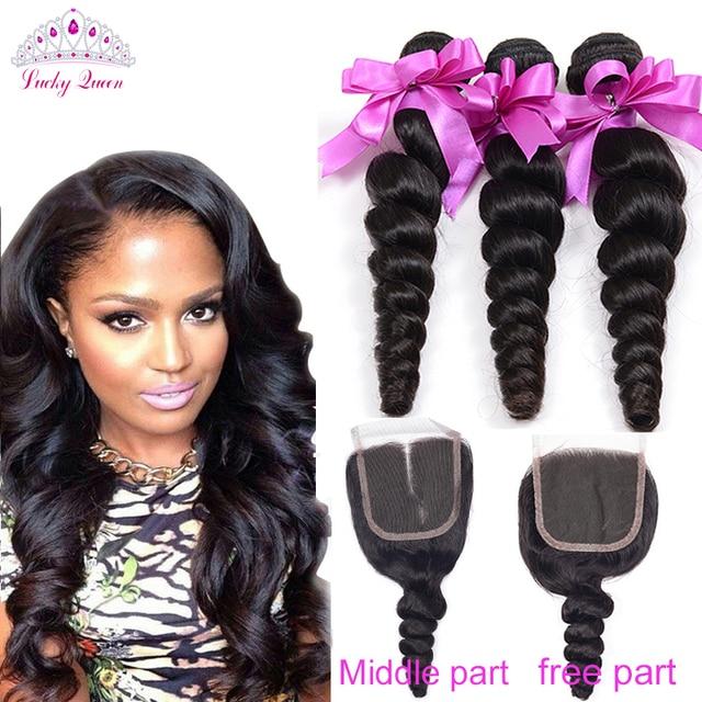 Malaysian Virgin Hair With Closure 4pcs Malaysian Loose Wave With Closure Human Hair  Rosa Hair Products Malaysian Loose Wave