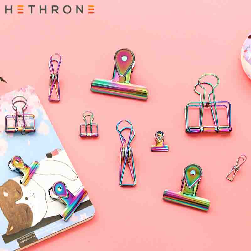 Hethrone Kawaii Colorful Multifunction Metal Paper Clips Binder Clip For Photo Message Ticket File Bookmark Office Spring Memo C