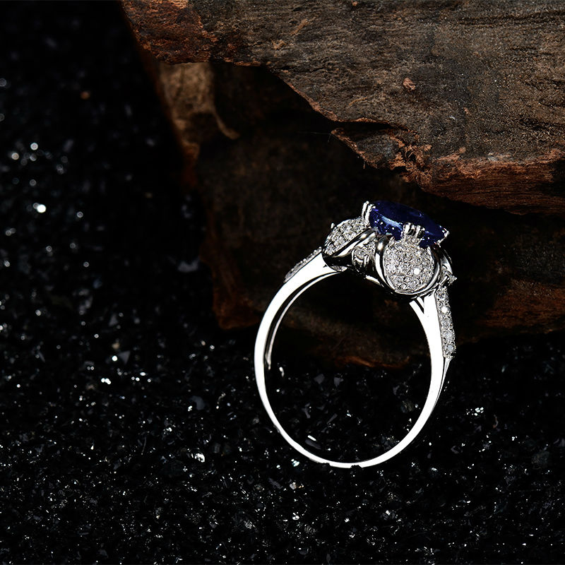 Latest Engagement Round 7x7mm Natural Diamond Tanzanite Ring 18kt White Gold Gemstone Fine Jewelry WU257