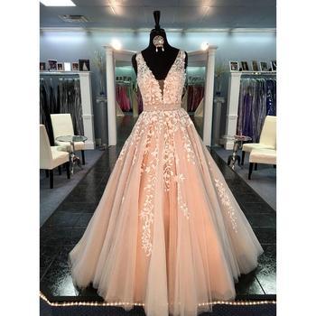 Vestido De Fiesta 2020 Princess Prom Dress Champagne A-Line Tulle Deep V-Neck Appliqued Women Evening Dresses Long Party Gown