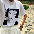 Korea ulzzang Harajuku vintage 2016 summer girl avatar letters printed round neck short sleeve T-shirt women clothing Tops Tee