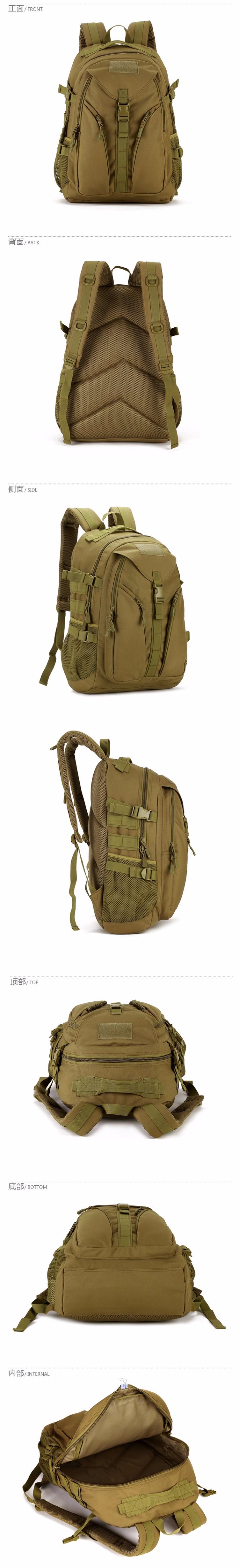 40L Waterproof Molle Backpacks Military 3P Tactics Rackpack Assault Nylon Travel Rucksack Bag for Men Women Rucksack Bag 8