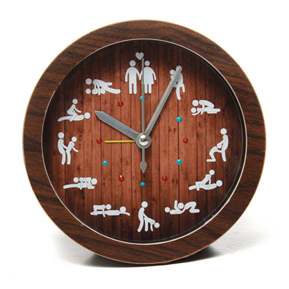 Hot Novelty Home Funny Decoration Wooden Color Sex Clock Circular Alarm 12 kinds Sexy Gestures Positions Living Room(China)