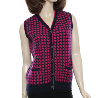 100% козья кашемир Хаундстут плед толстой вязки Женская мода свитер sleeeveless красный жилет 4 вида цветов S 3XL