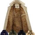 Thick Warm Velvet Fleece Lined Plus Size 5XL 6XL Winter Jacket Men Long Trench Coat Black Army Green Navy Khaki