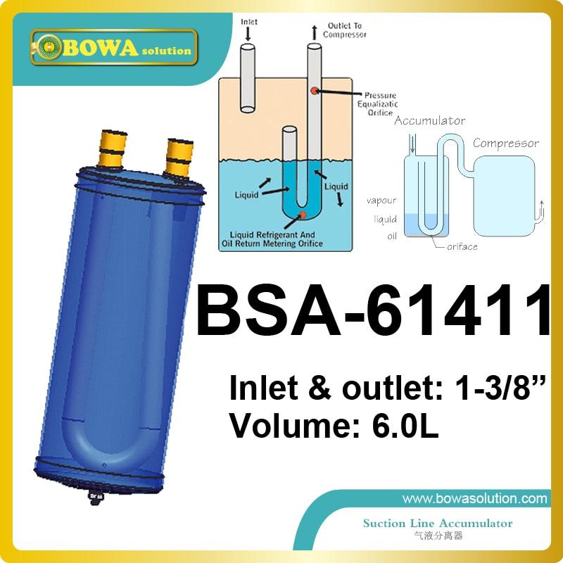 Laccumulateur daspiration 6L avec tube de connexion 1-3/8 est un excellent choix pour les compresseurs de liquide de refroidissement 9 ~ 12HP, tels que ZB76KQE ou 4PCS-10.2YLaccumulateur daspiration 6L avec tube de connexion 1-3/8 est un excellent choix pour les compresseurs de liquide de refroidissement 9 ~ 12HP, tels que ZB76KQE ou 4PCS-10.2Y