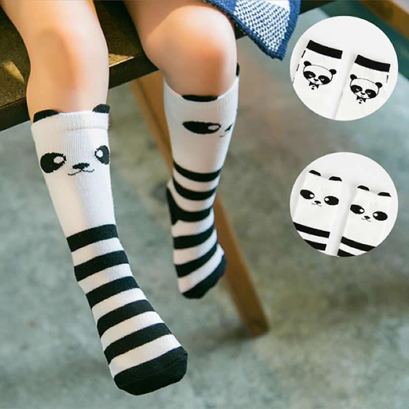 Baby Knee High Socks Wholesale Girls Leg Warmers Chaofan Toddler Tube Sock Cartoon Animal Panda Print Cotton Socks
