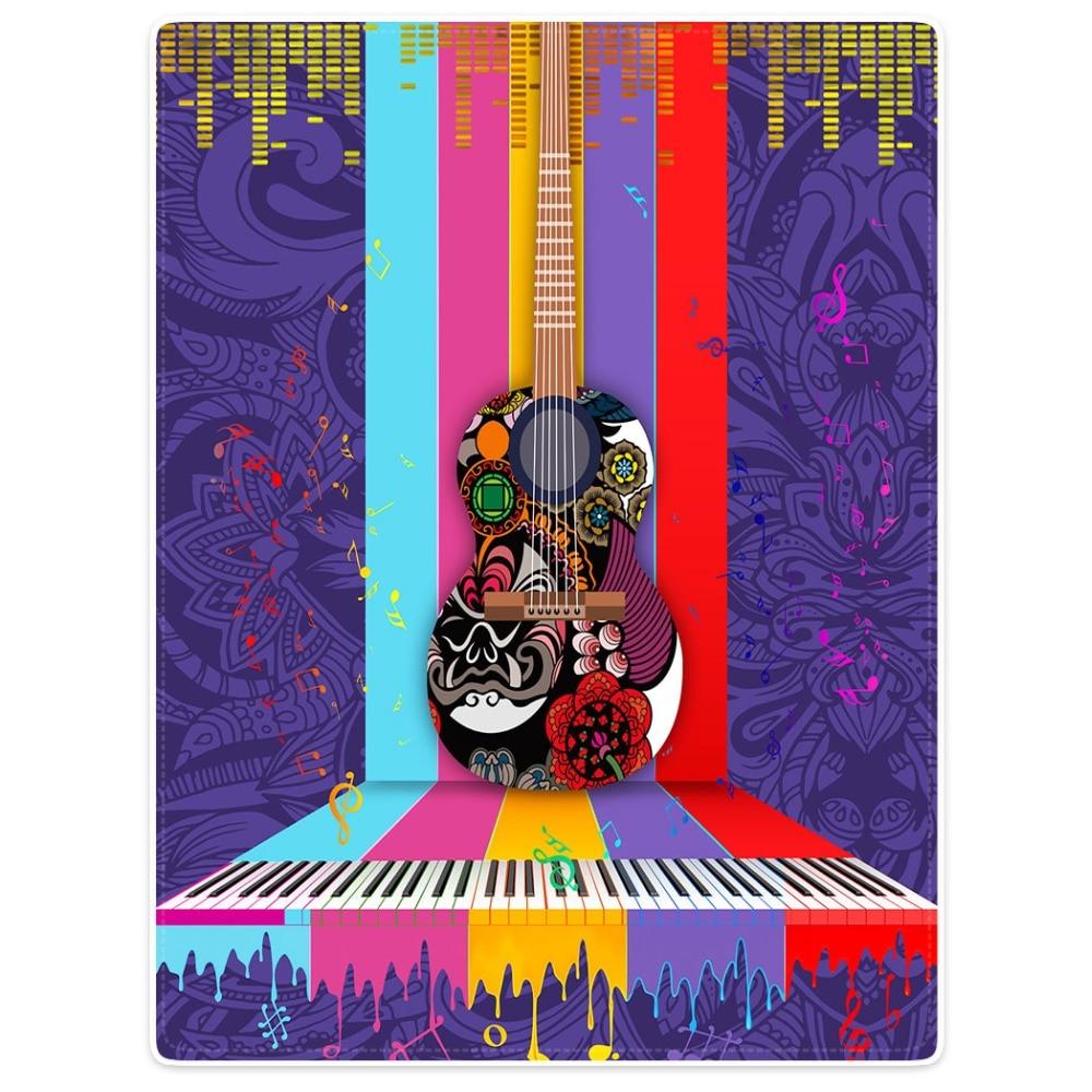 HommomH couverture jeter confort chaud doux en peluche jeter pour canapé mode guitare Piano Notes Totem violet