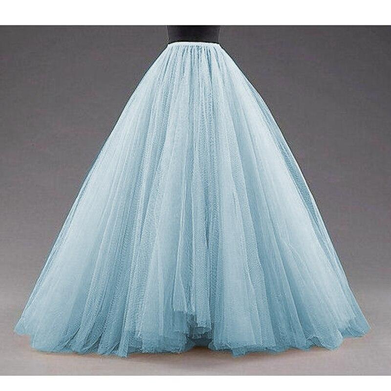 Céu azul inchado longo tule saias das mulheres do vintage ouro feminino tutu saia para fotos de noiva feito sob encomenda natal saias