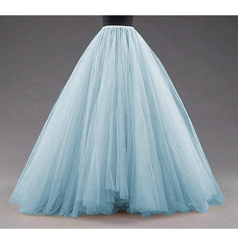 Sky Blue Puffy Long Tulle Skirts Women Vintage Gold Female Tutu Skirt For Bridal Photoshoots Custom Made Christmas Saias
