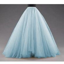 Sky Blue Puffy Long Tulle Skirts Women Vintage Gold Female Tutu Skirt