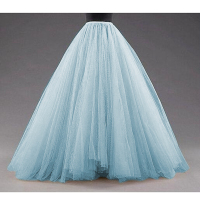 Sky Blue Puffy Long Tulle Skirts Women Vintage Gold Female Tutu Skirt For Bridal Photoshoots Custom Made Christmas Saias