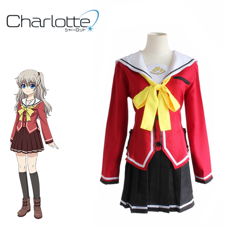 Anime Costumes Smart New Anime Charlotte Nao Tomori Red School Uniform Cosplay Costume