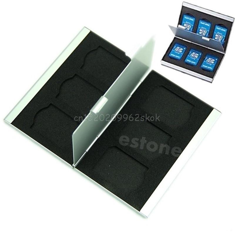 Storage Box Case Cover Holder Aluminium alloy Flash Memory SD TF Card Protector #H029# memory card case aluminium alloy 8 tf 4 sd memory cards storage box sd card holder