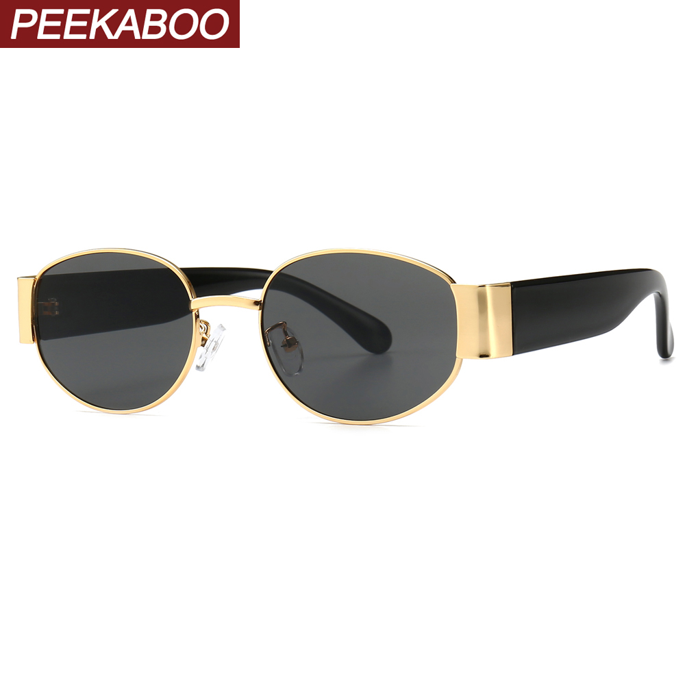 Peekaboo Womans Oval Sunglasses Men Steampunk Gold Red Green Ladies Retro Eyewear Metal Frame 2019 Summer Fashion Accessories