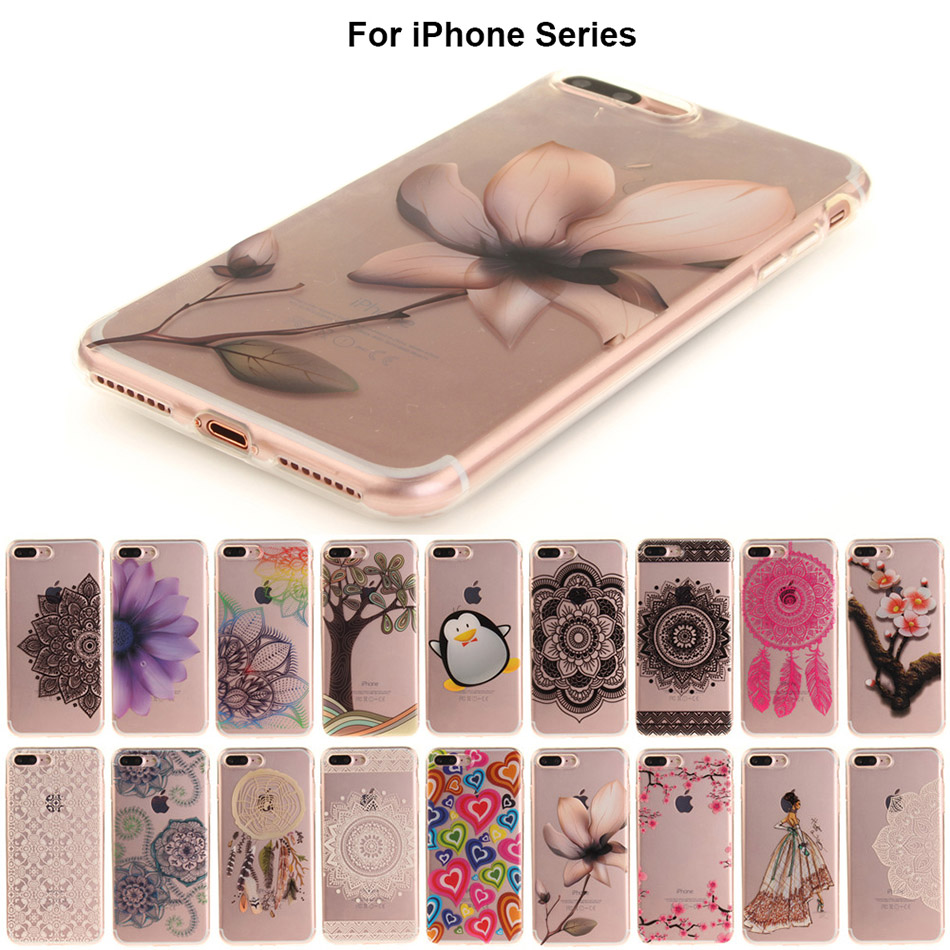 B41 Floral Phone Case For Apple iPhone 7 6 6s 5 5s SE Plus Lace Flower Soft TPU Cases Back Cover Capa For iPhone7Plus ...
