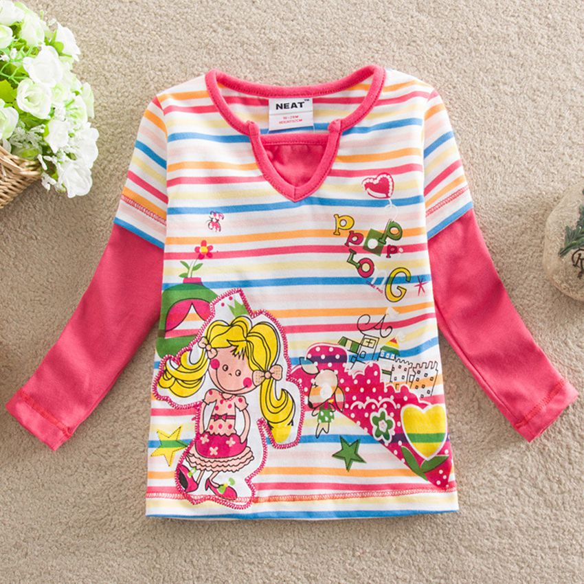 girls long sleeves T-shirt neat nova 2017 special cotton fashion comfortable girl baby shirt T-shirt round neck embroidered L301