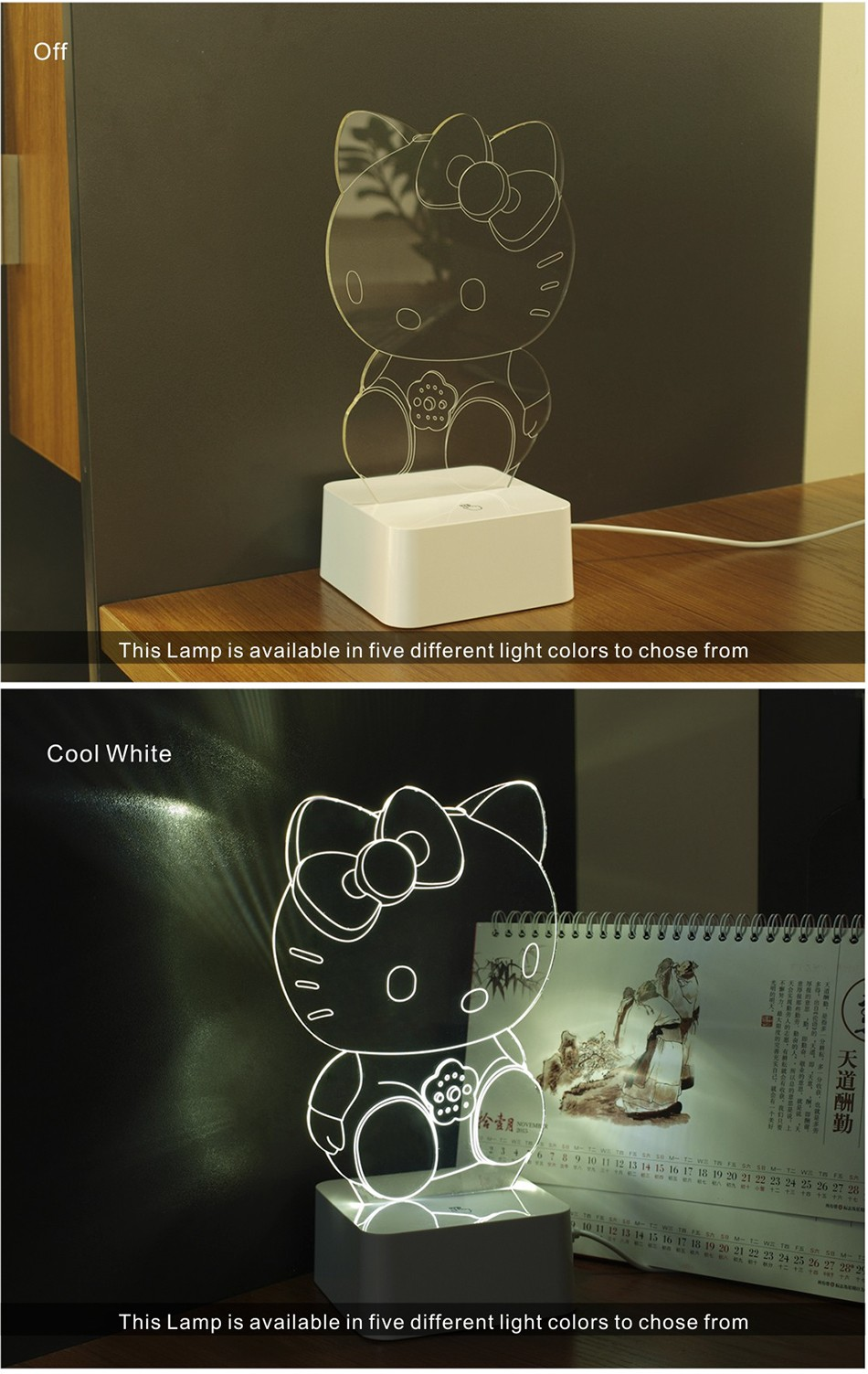 Novelty Art Decor Lamp 3d For luces de Hello Kitty Night Light  (3)