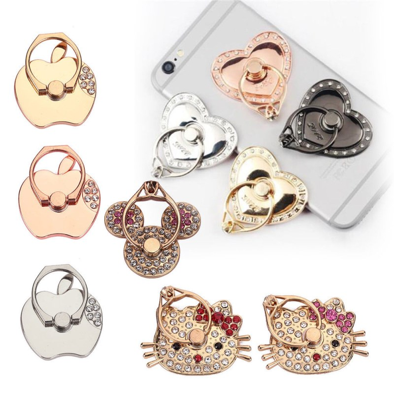 360 Rotating Finger Metal Ring Stand Holder Mount Universal Mobile Phones Hello Kitty For Cell Phone Tablet